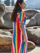 Iridescent Color Short Sleeve Maxi Shirt Dress