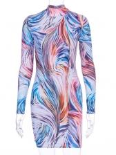 Mock Neck Print Long Sleeve Bodycon Dress