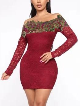 Lace Panel Off Shoulder Bodycon Dress