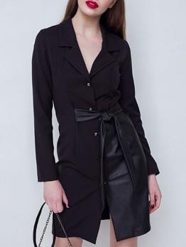Pu Patchwork Black Long Sleeve Blazer Dress