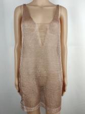 Deep v Neck Sleeveless See-Though Short Dress