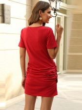 Casual Crew Neck Solid Short Sleeve t-Shirt Dress