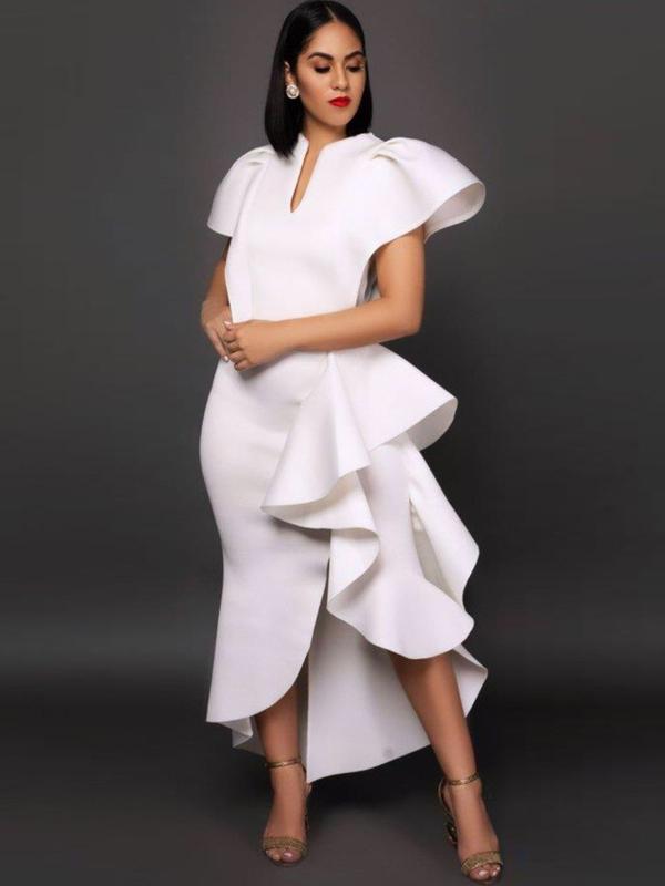 Fashion Ruffle White Evening Dresses For Women