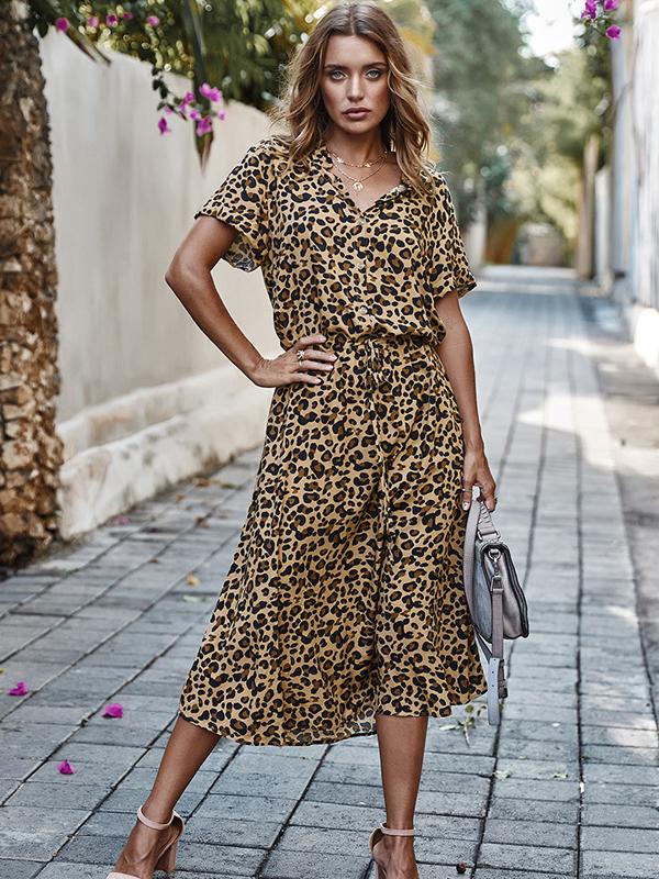 Hot Sale Leopard Print Maxi Sleeve Midi Dress