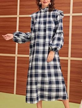 Fashion Mock Neck Plaid Maxi Dress