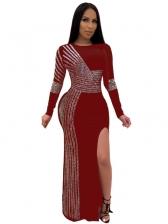 Rhinestones Decor Split Hem Long Sleeve Maxi Dress