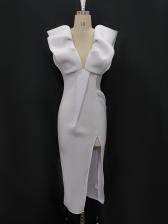 Deep V Neck Ruffle White Prom Dress