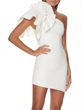 One Shoulder Ruffle Sleeve White Party Dress
