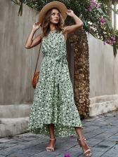Polka Dots Sleeveless Maxi Dress For Vacation