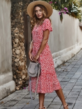 Single-Breasted Short Sleeve Floral Maxi Dress