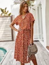 Smart Waist Dots Print Short Sleeve Maxi Dress