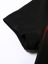 Mock Neck Short Sleeve Black Bodycon Romper