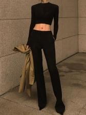 Hot Sale High Waist Black Wide Leg Pants