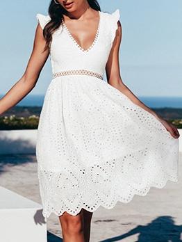 Deep v Backless Women White Dress