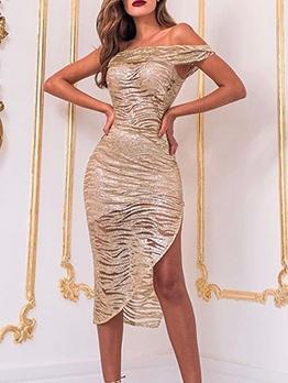 One Shoulder Asymmetric Hem Dresses For Women