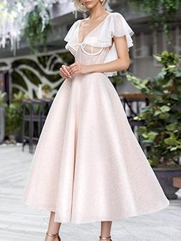 V Neck Ruffled Women Prom Dresses
