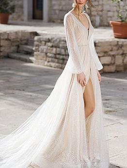 Gauze Backless Slit Evening Dresses For Women