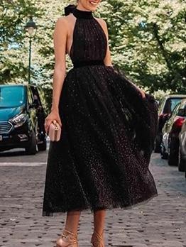 Backless Bowknot Tied Black Halter Dress