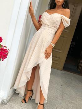 Polka Dots Asymmetric Hem Summer Maxi Dresses