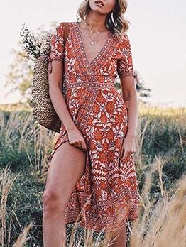 Bohemian Print v Neck Short Sleeve Midi Dress