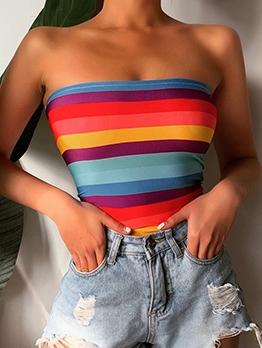 Fashion Colorful Striped Strapless Camisole