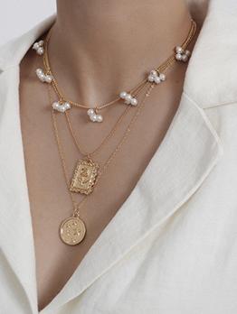 Ball Decor Star Square Pendant Layered Necklace