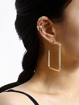 Chic Geometric Golden Earrings Set