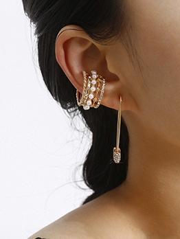 Creative Rhinestone Ball Decor Ear Clip Earrings Set