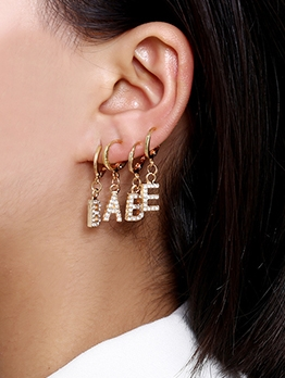 Rhinestone Decor Letter Drop Earrings Sets