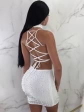 Sexy Beading Sleeveless Lace Up Two Piece Skirt Set