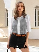 SwissDot Solid Long Sleeve Blouse For Women