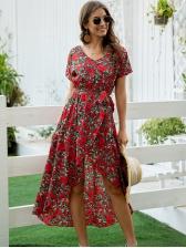 Bohemian Flower Print Wrap Maxi Dress
