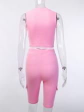 Short Solid Crop Top And Pants Set