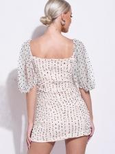 Sexy Polka Dots Short Sleeve Bodycon Dress