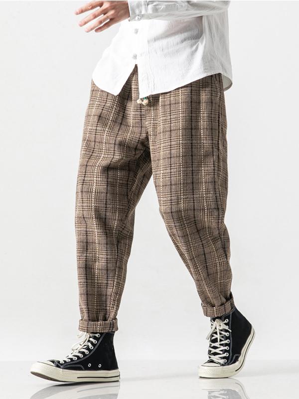 Winter Woolen Plaid Men Harem Pants