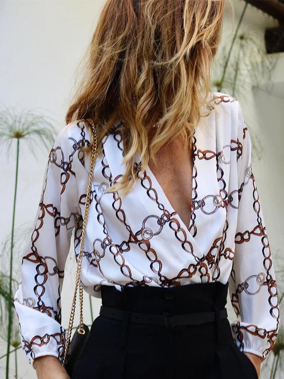 V Neck Chain Printed Long Sleeve Womens Blouses