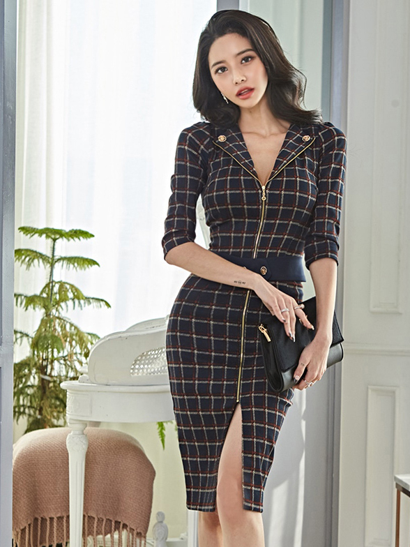 Fitted Plaid Bodycon Dresses For Women