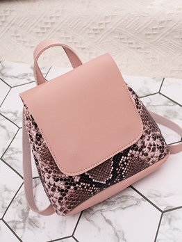 Snake Printed Flap Small Backpack Bag