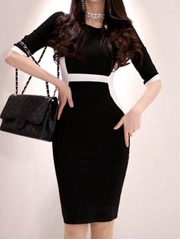 Stylish Contrasting Colors Round Neck Black Dresses