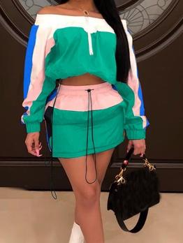 Boat Neck Contrast Color 2 Piece Skirt Sets