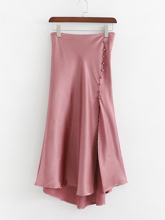 Faux Pearl Patchwork Irregular Slit Maxi Skirts