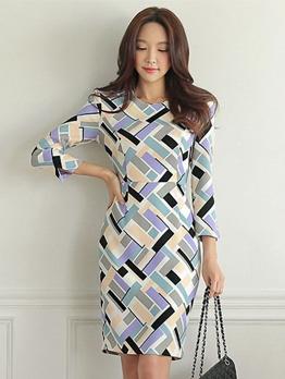 Ol Style Geometric Printed Fitted Ladies Dress
