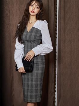 Ol Style V Neck Plaid Long Sleeve Bodycon Dress