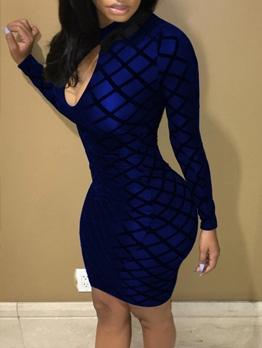 Night Club Plaid Long Sleeve Bodycon Dress