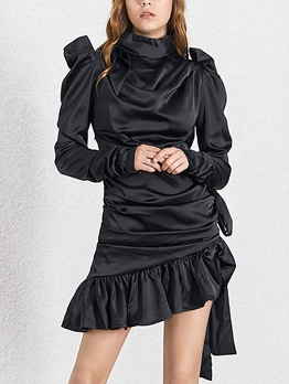 Boutique Tie Wrap Pleated Flounce Hem Short Dress