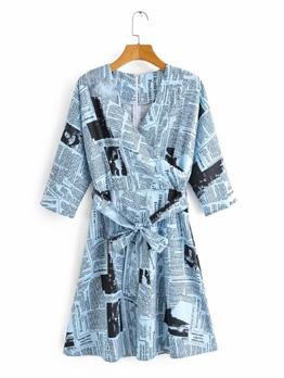 Newspaper Printed Tie Wrap Women Casual Dresses