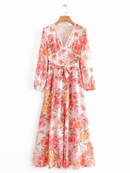 Lace Edge V Neck Pink Flower Maxi Dresses