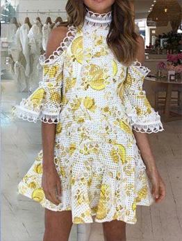 Hollow Out Cold Shoulder Boutique Short Dress