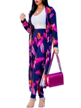 Feather Printed Cardigan And Pant Two Piece Sets