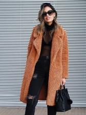 Fashion Solid Woolen Ladies Overcoat